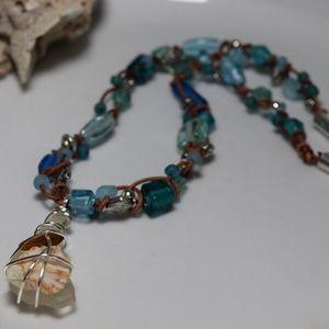 Jewelry - Blue Glass, Seaglass Shell Choker Necklace